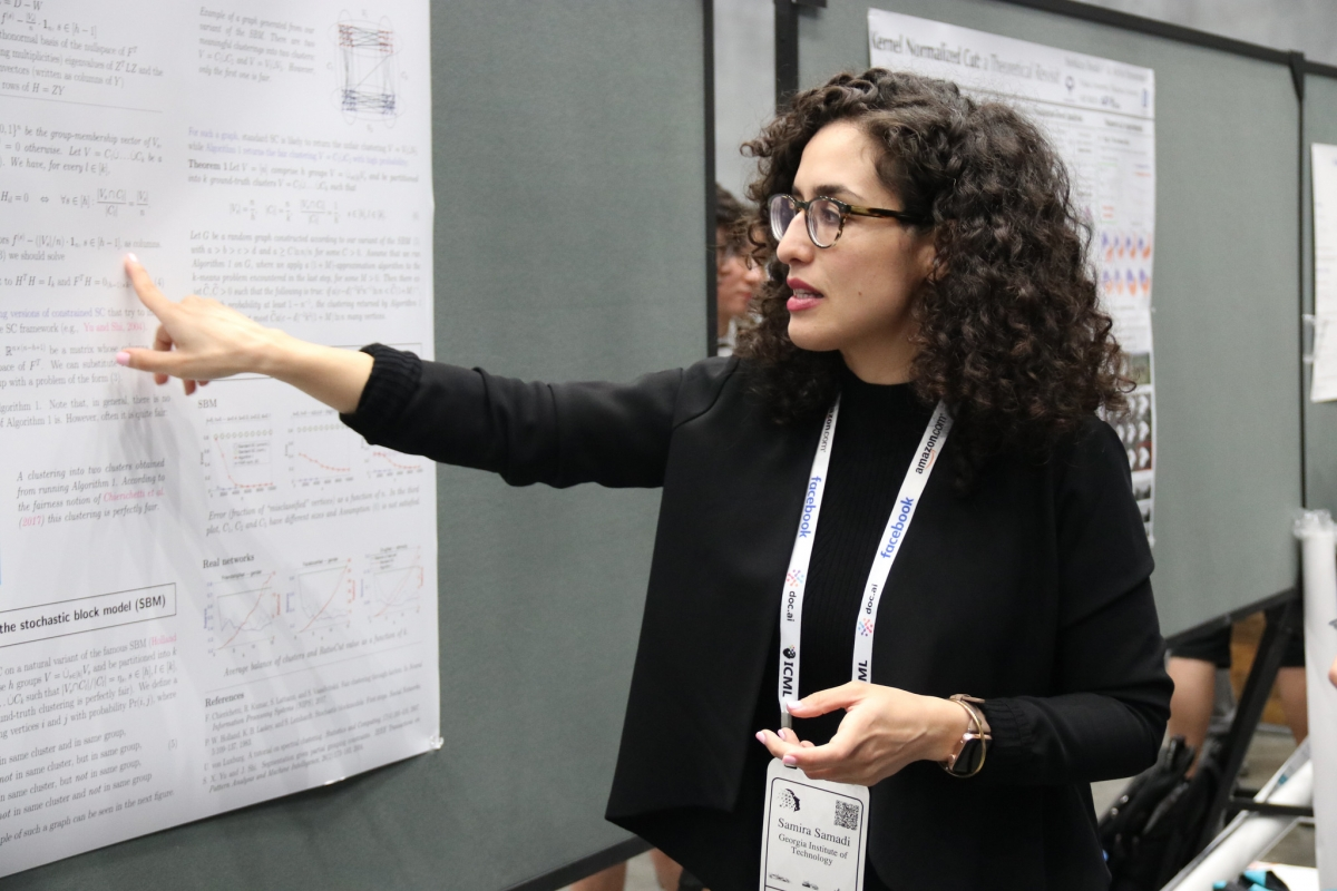 Samira Samadi presents research at a conference.